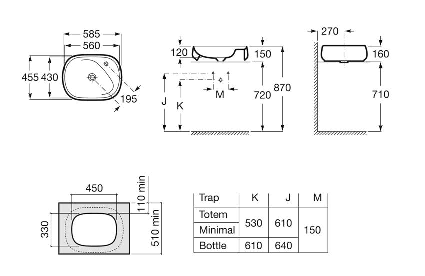 Umywalka nablatowa  58,5x45,5x16 cm Roca Beyond rysunek techniczny