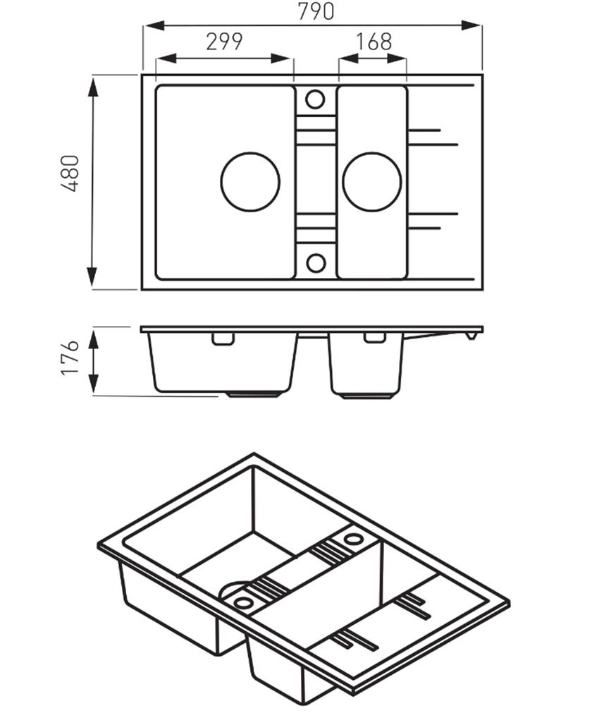 Zlewozmywak prostokątny 1,5-komorowy z ociekaczem FDesign Carioca rysunek