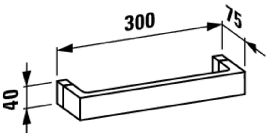 Wieszak na ręcznik 30 cm Laufen Kartell rysunek techniczny