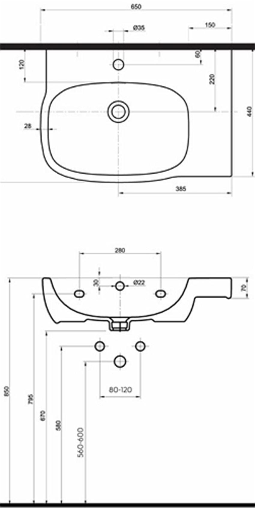 Umywalka asymetryczna prawa 65 cm Koło Style rysunek techniczny