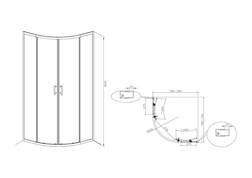 Kabina prysznicowa 80x80x1950 cm Roca Town rysunek techniczny