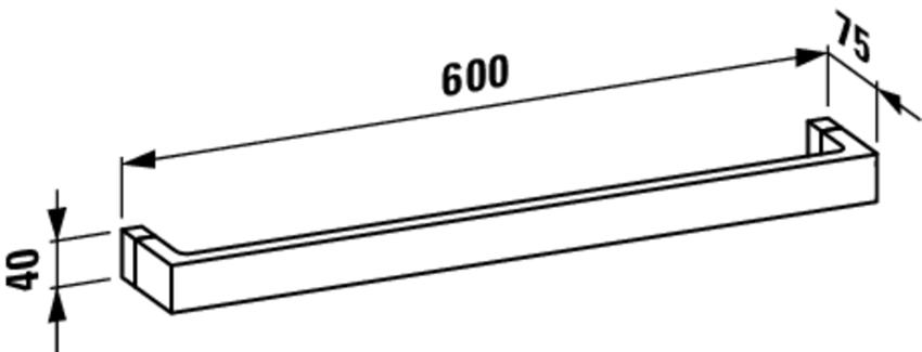 Wieszak na ręcznik 60 cm Laufen Kartell rysunek techniczny