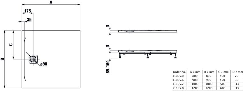Brodzik kwadratowy Laufen Pro rysunek techniczny