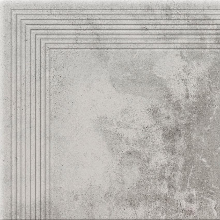 Płytka stopnicowa narożna 30x30 cm Cerrad Piatto gris