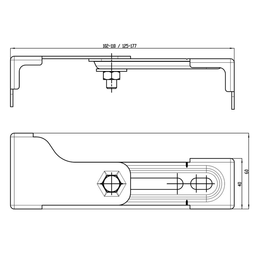 Zestaw uchwytów montażowych do stelaży podtynkowych Aquafix Franke rysunek techniczny