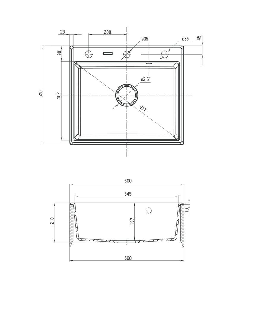 Zlewozmywak granitowy 1-komorowy Deante Andante rysunek techniczny