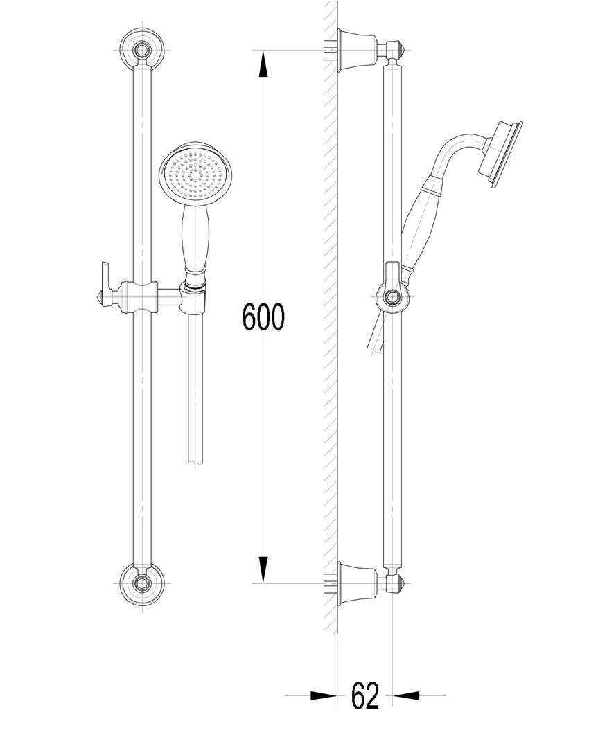 Zestaw prysznicowy suwany 1-funkcyjny chrom Omnires Armance-SCR rysunek