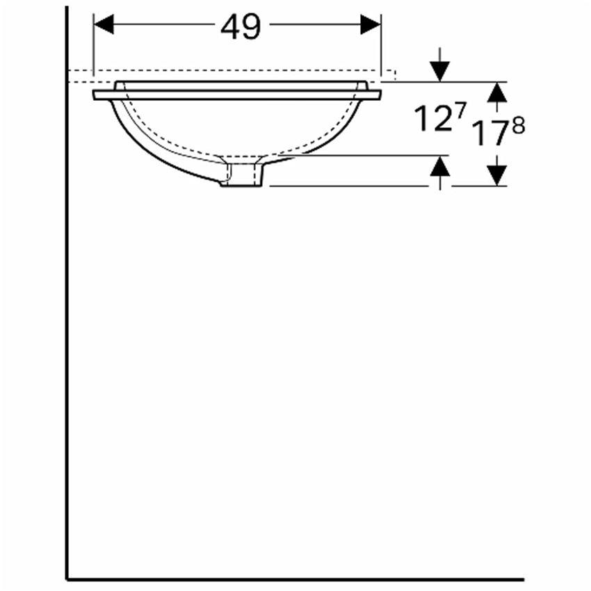 Umywalka podblatowa prostokątna 50x40 cm Koło VariForm rysunek techniczny