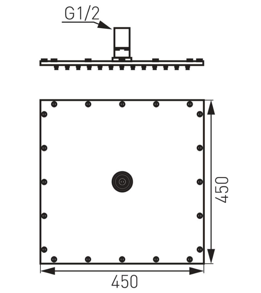 Głowica deszczowni 45 cm FDesign Inula rysunek