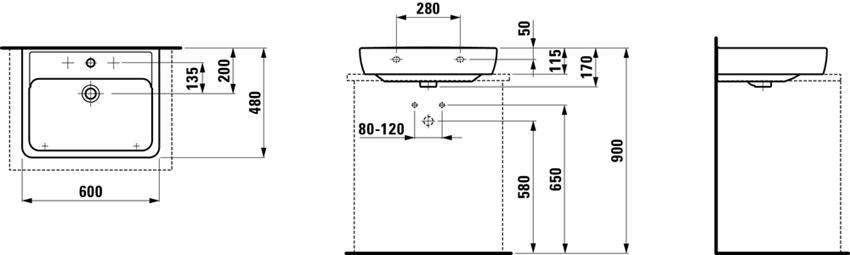 Umywalka ścienna 60 cm Laufen Pro rysunek