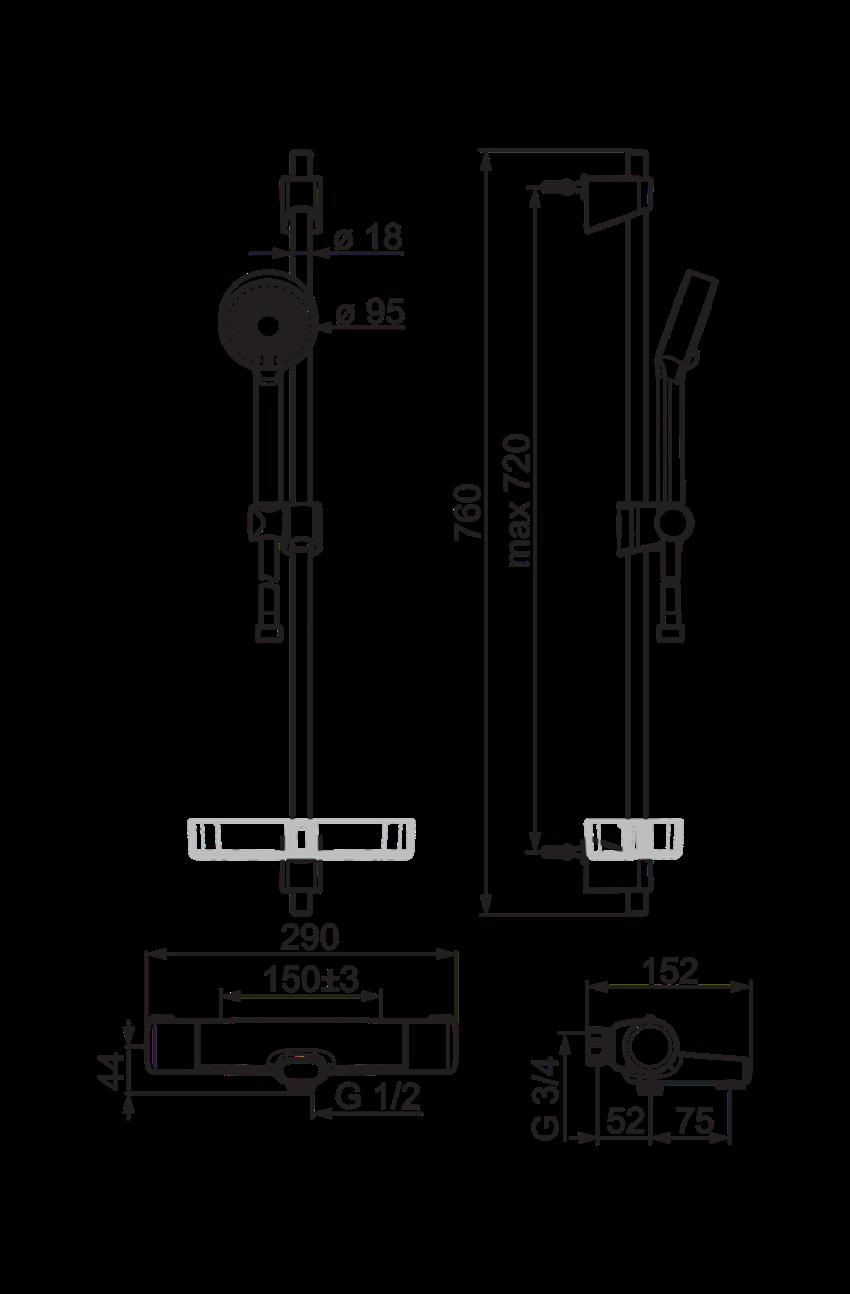 Bateria natryskowa z prysznicem termostat Oras Nova rysunek techniczny