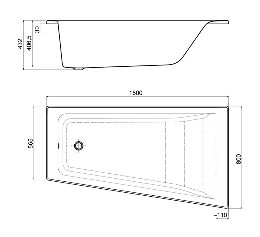 Asymetryczna narożna wanna z hydromasażem Effects Gold Prawa 150x80 cm Roca Easy rysunek techniczny