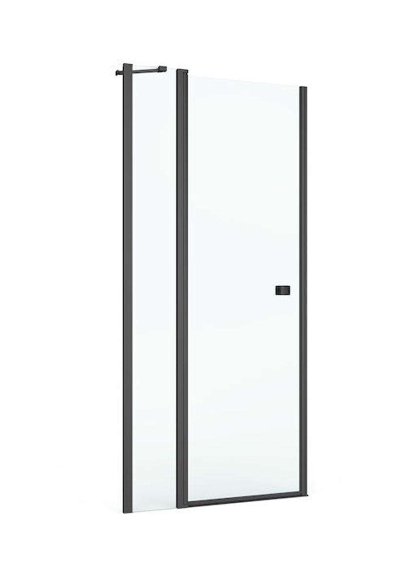 Drzwi z polem stałym z powłoką MaxiClean profile czarny mat 100x195 cm Roca Capital