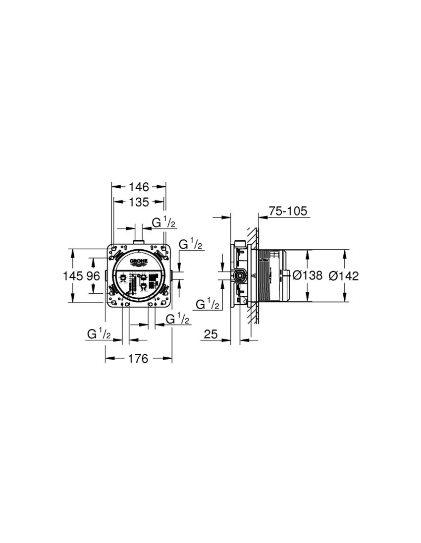 Uniwersalny element podtynkowy 1/2″ Grohe Rapido Smartbox rysunek techniczny