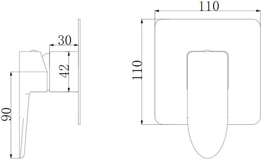 Bateria prysznicowa podtynkowa Omnires Siena rysunek techniczny