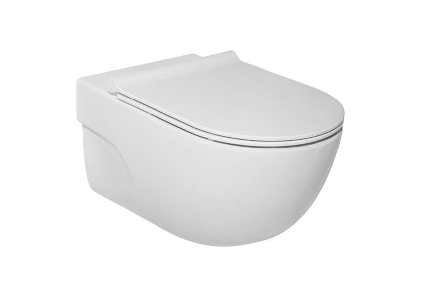 Miska WC podwieszana Rimless z deską wolnoopadającą SLIM zestaw Roca Meridian