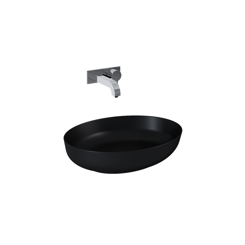 Umywalka nablatowa black matt 52x13x39,5 cm Elita Rika