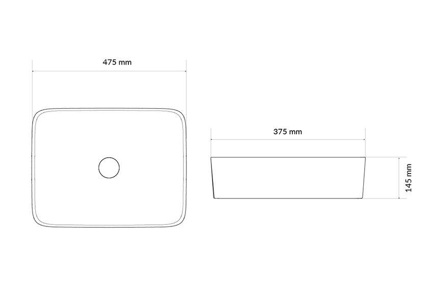 Umywalka nablatowa 47,5 cm Excellent Forka  rysunek techniczny