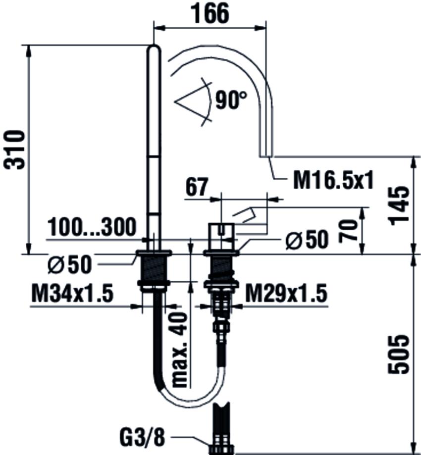 Bateria umywalkowa dwuotworowa Laufen Kartell rysunek techniczny