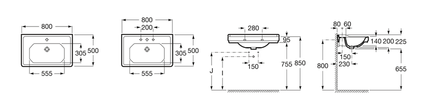 Umywalka ścienna 1 otwór pod baterę powłoka Maxi Clean 80x50x22,5 cm Roca Carmen