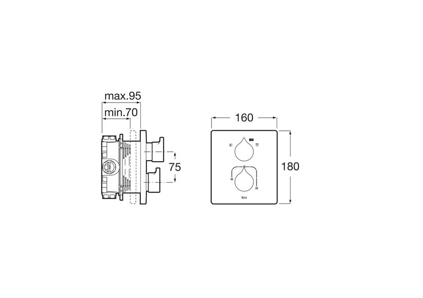 Bateria jednouchwytowa termostatyczna wannowo - prysznicowa podtynkowa Roca Indsignia rysunek