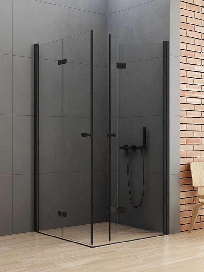 Kabina prysznicowa z podwójnymi drzwiami składanymi New Trendy New Soleo Black