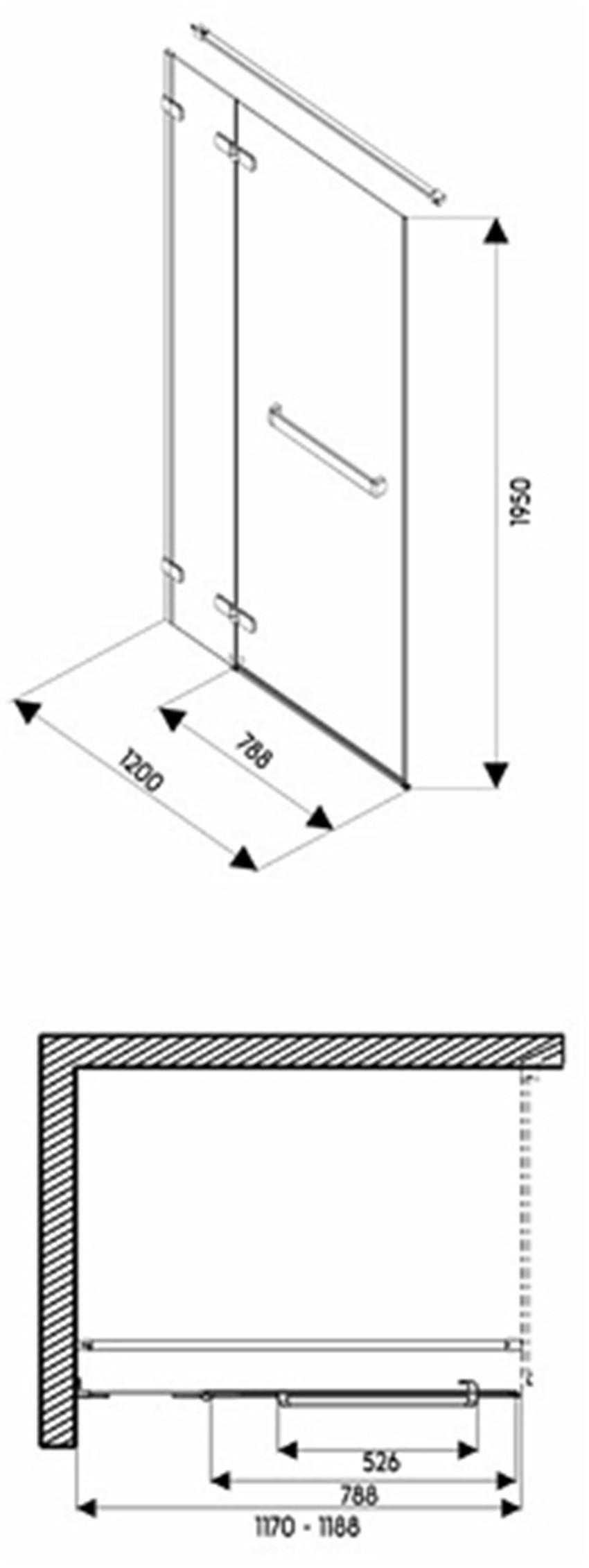 Drzwi skrzydłowe z relingiem do ścianki Next 120 lewostronne Koło Next rysunek techniczny
