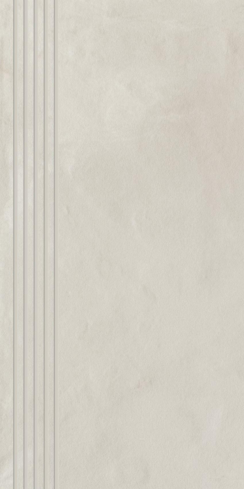 Płytka stopnicowa 29,8x59,8 cm Paradyż Tigua Bianco Stopnica Prosta Nacinana Mat