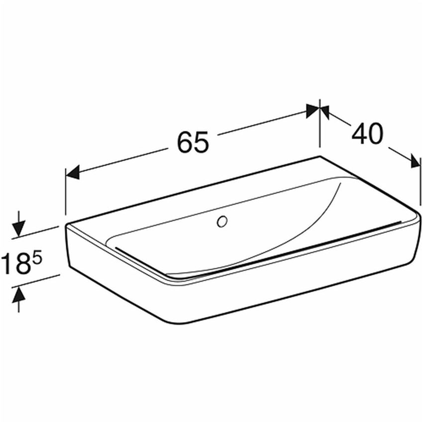 Umywalka prostokątna krótka bez otworu z przelewem 65 cm Koło Nova Pro rysunek