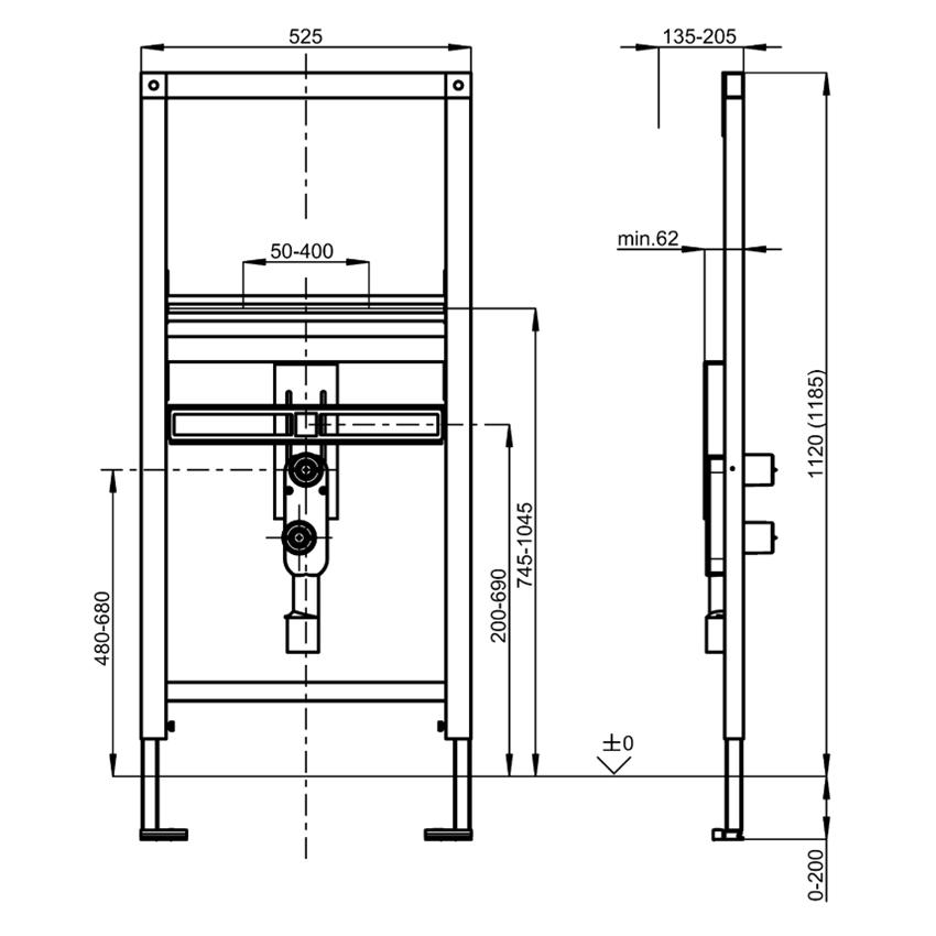 Stelaż podtynkowy do umywalek z armaturą stojącą przystosowanych do łazienek bez barier Franke Aquafix rysunek techniczny