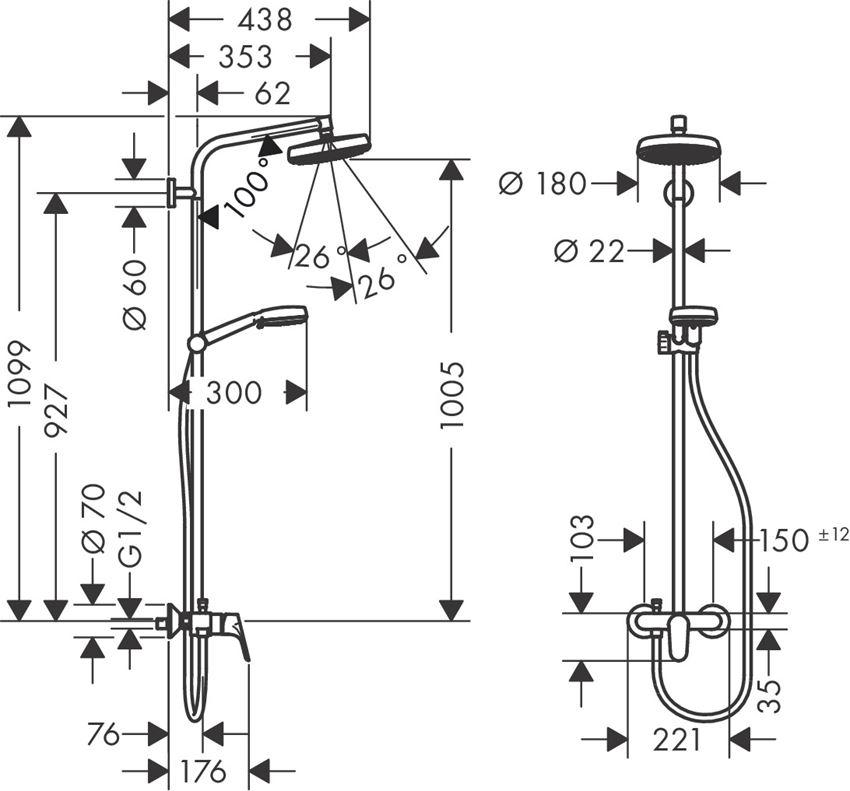 Komplet prysznicowy z baterią jednouchwytową Hansgrohe Crometta rysunek techniczny