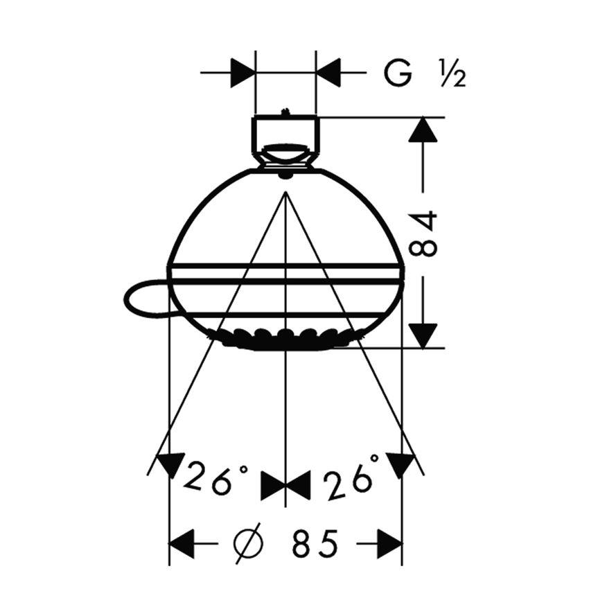 Głowica prysznicowa Vario Hansgrohe Crometta 85 rysunek