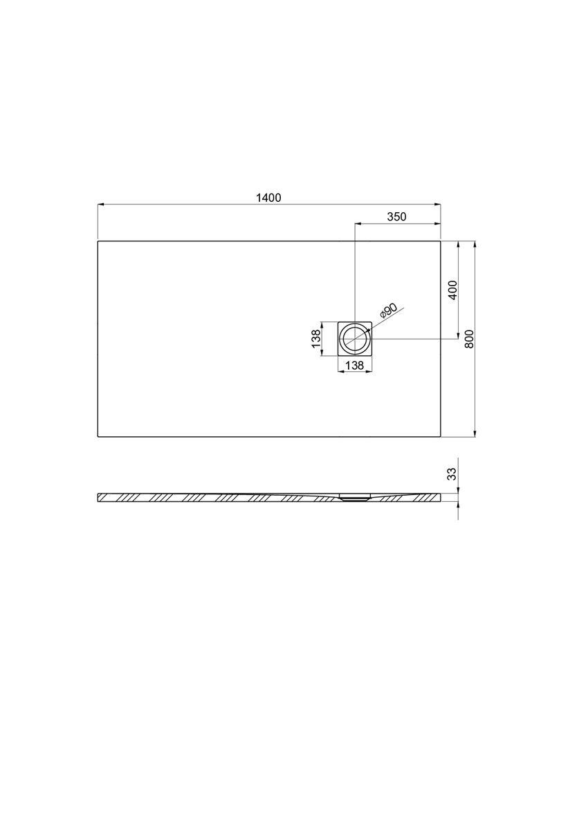 Brodzik kompozytowy 140x80x3,3 cm Roca Ignis rysunek technicnzy