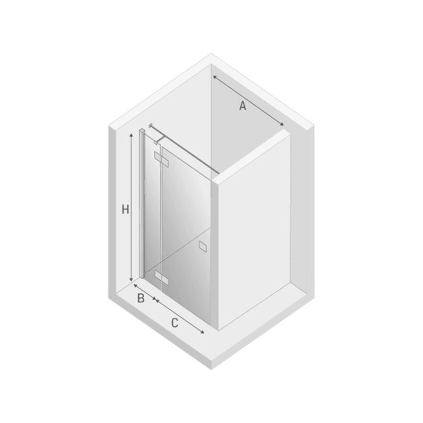 Drzwi prysznicowe lewe New Trendy Reflexa rysunek techniczny