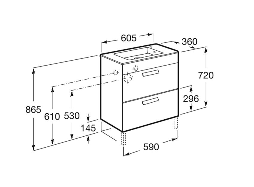 Zestaw łazienkowy 60x36x72 cm Roca Debba rysunek techniczny