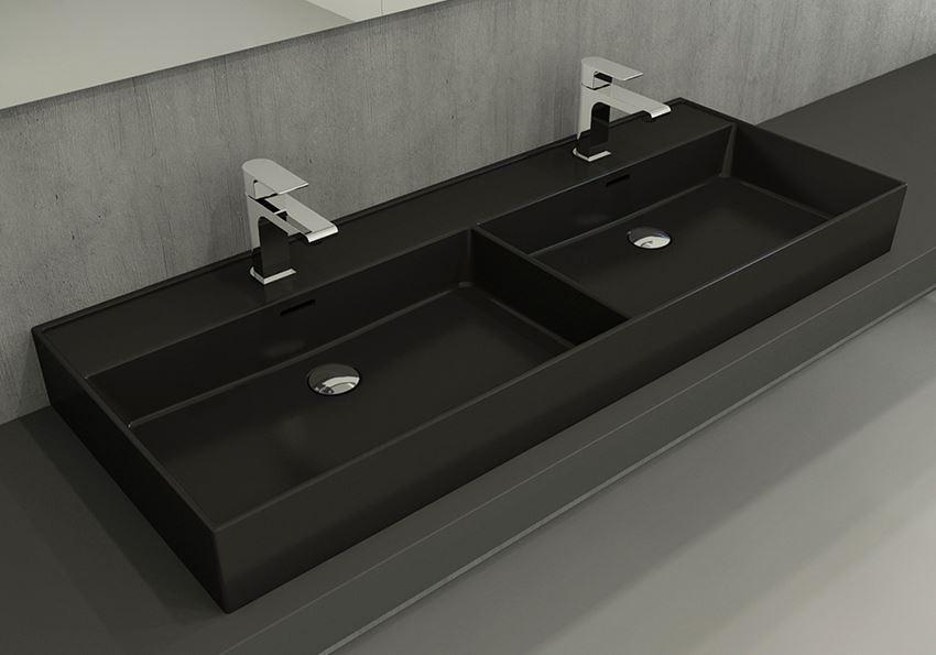 Umywalka podwójna meblowa/nablatowa/wisząca 120 cm Matt Black Bocchi Milano