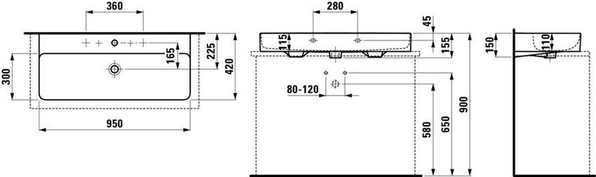 Umywalka ścienna/blatowa 95x42x11,5 cm Laufen Val rysunek techniczny