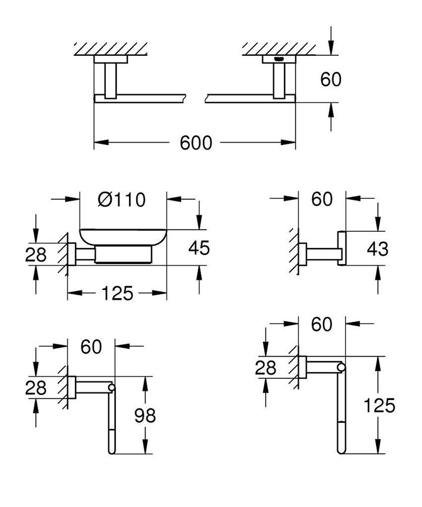 Zestaw akcesoriów łazienkowych 5 w 1 Grohe Essentials Cube rysunek techniczny