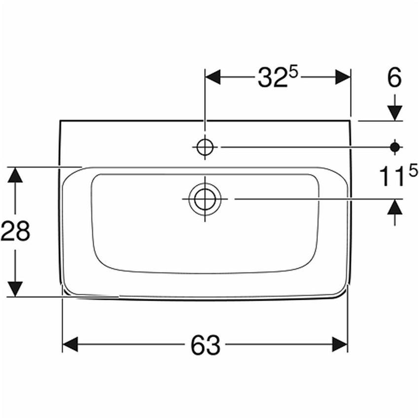 Umywalka prostokątna krótka z otworem bez przelewu 65 cm Koło Nova Pro rysunek