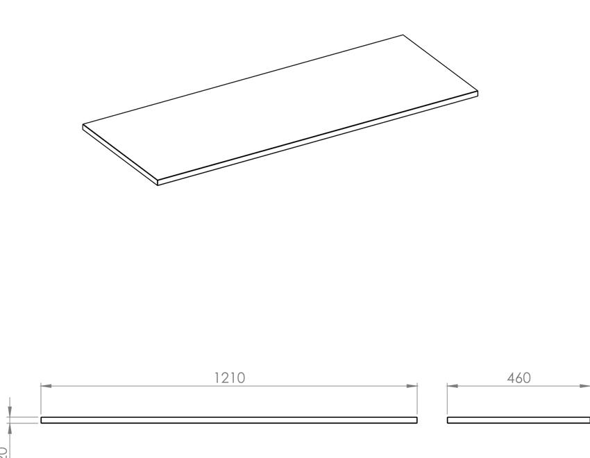 Blat naszafkowy pełny 120 cm Elita ElitStone rysunek