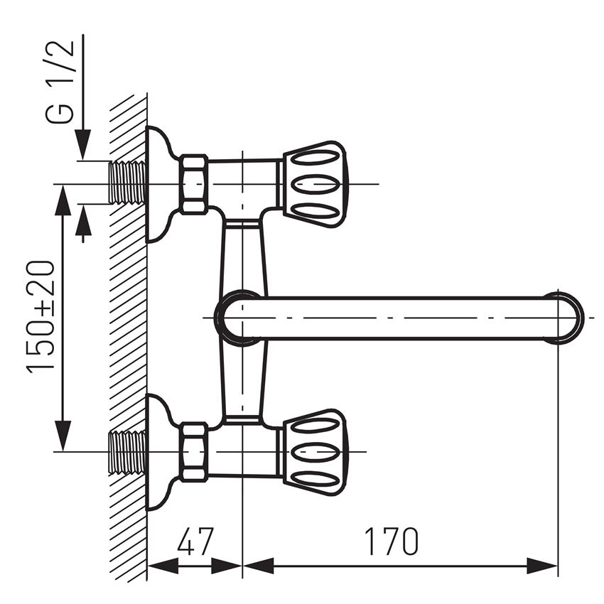 Bateria umywalkowa ścienna Ferro Standard rysunek techniczny