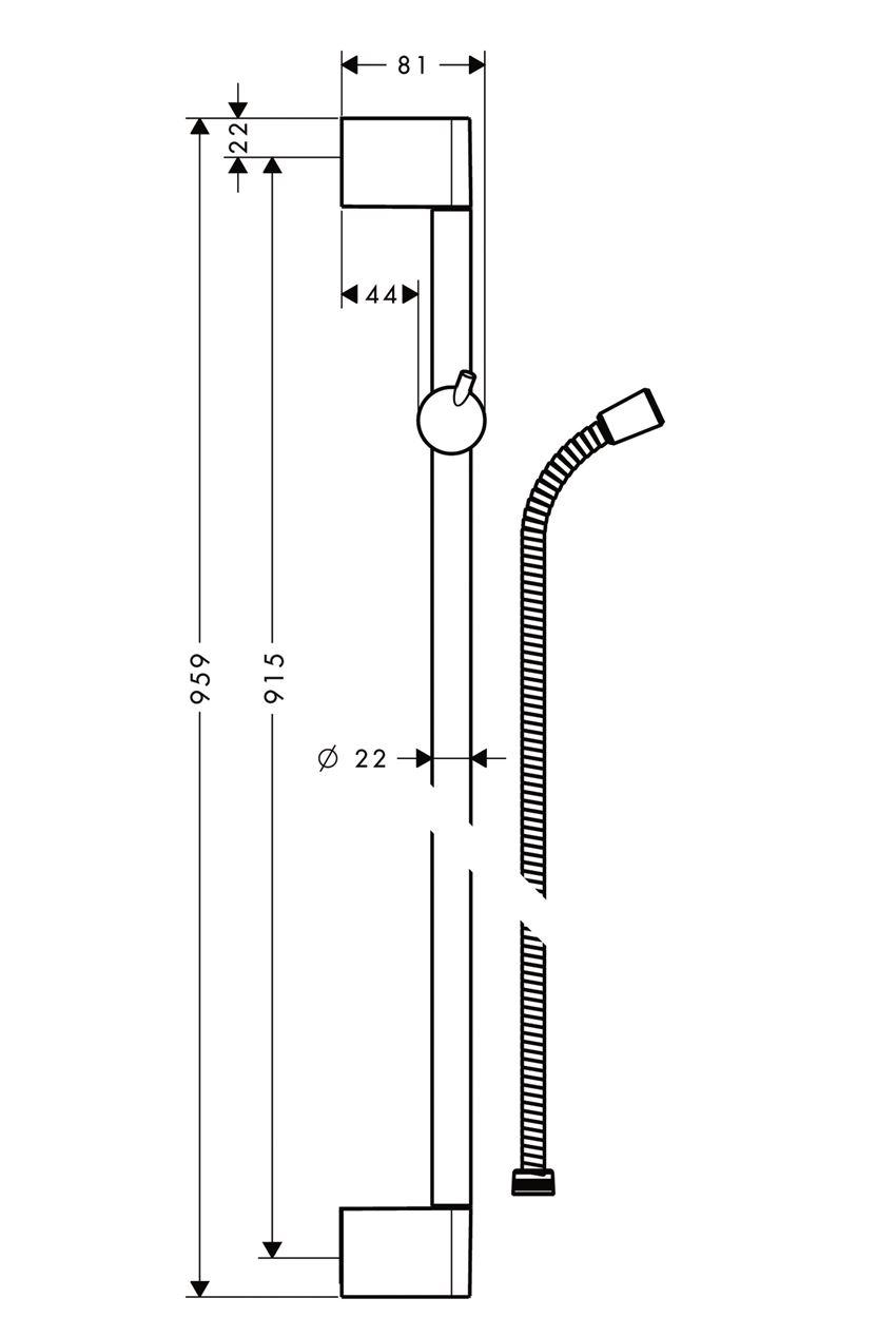 Drążek prysznicowy Crometta 90 cm z wężem chrom Hansgrohe Unica rysunek techniczny