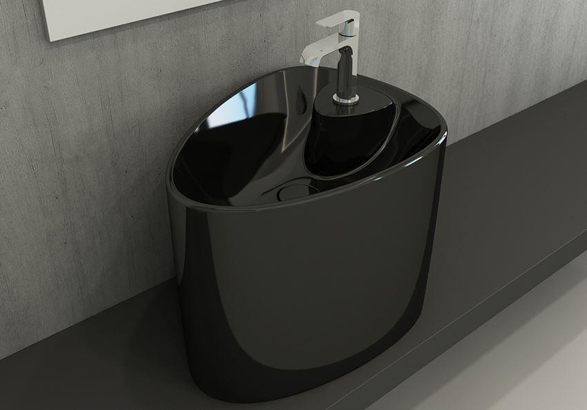 Umywalka nablatowa monoblok Glossy Black Bocchi Etna