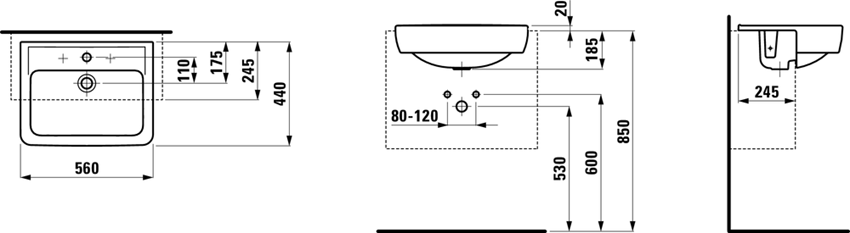 Umywalka półblatowa 56 cm Laufen Pro rysunek