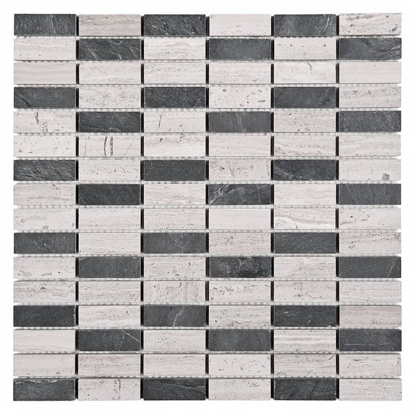 Mozaika 30,5x30,5 cm Dunin Woodstone Grey block mix 48