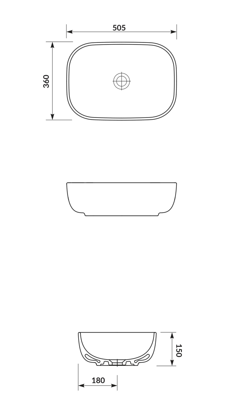 Umywalka nablatowa 50 cm Cersanit Moduo rysunek