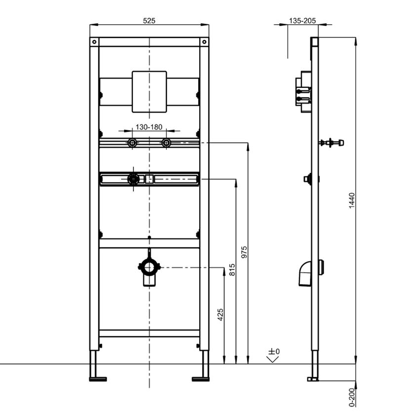 Stelaż podtynkowy do pisuarów ze stali szlachetnej Franke Aquafix rysunek techniczny