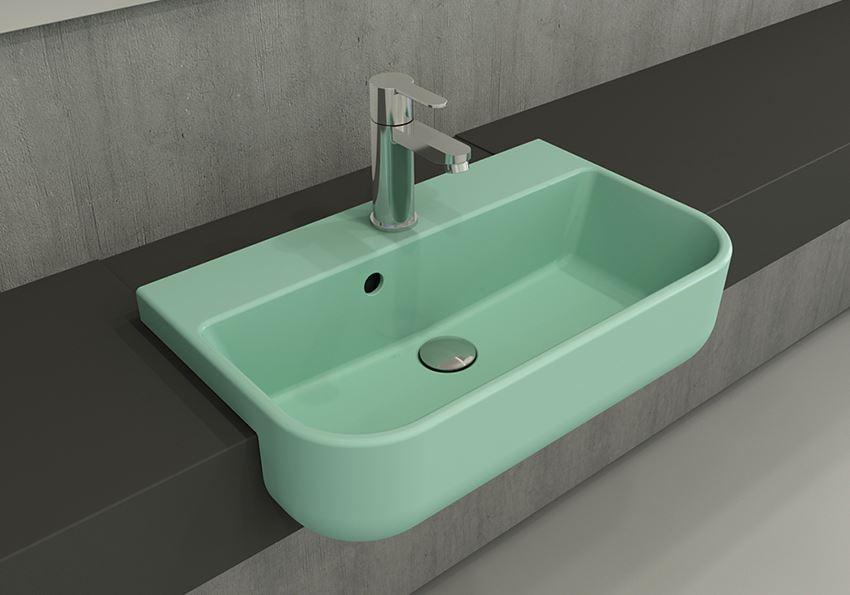 Umywalka meblowa/nablatowa 56x34 cm Matte Mint Green Bocchi Milano