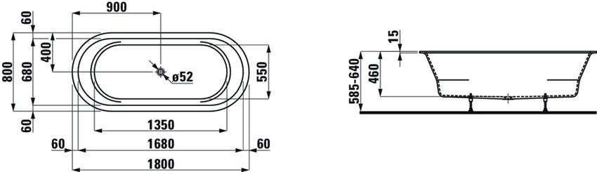 Wanna owalna wersja wpuszczana 180x80 cm Laufen Pro rysunek
