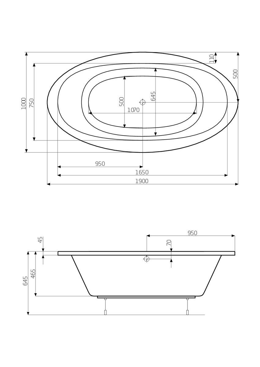 Owalna wanna akrylowa z hydromasażem 190x100 cm Roca Aura rysunek techniczny